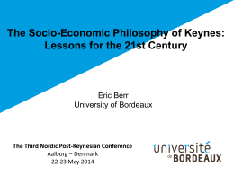 The Socio-Economic Philosophy of Keynes: Lessons for the 21st