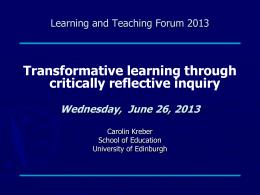 transformative learning - University of Edinburgh
