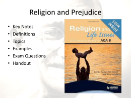 Religion and Prejudice Lecture Powerpoint