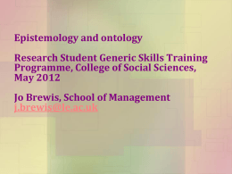 Epistemology and Ontology