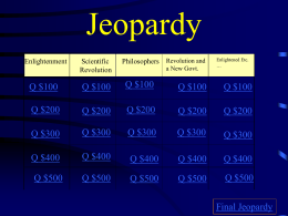 Age of Enlightenment Jeopardy