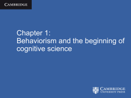 Behaviorism and the beginning of