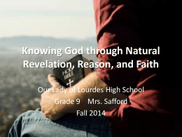Knowing God through Natural Revelation, Reason, and Faith