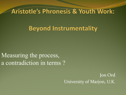 Aristotle`s Phronesis & Youth Work