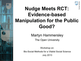 Birmingham Nudge and RCTs