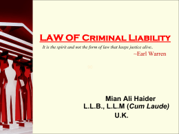 LAW OF Criminal Liability