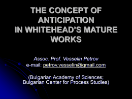The Concept of Anticipation In Whitehead`s Mature Work