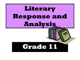 The Literary Response and Analysis Strand/Cluster