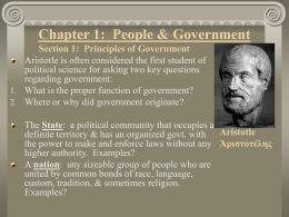 Chapter 1: People & Government