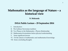 Mathematics as the language of Nature – a historical view