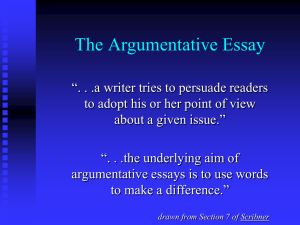The Nature of the Argumentative Essay and the Use of Logic