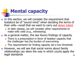 Mental capacity - Robert H. McKinney School of Law