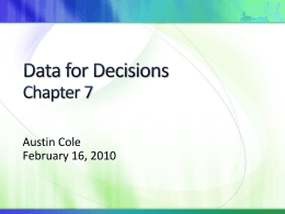 Data for Decisions Chapter 7
