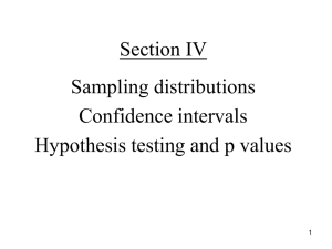 Confidence intervals, hypothesis testing, p values