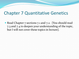 Chapter 7 Quantitative Genetics