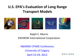 US EPA`s Evaluation of Long Range Transport Models