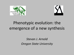 Phenotypic Evolution - Oregon State University