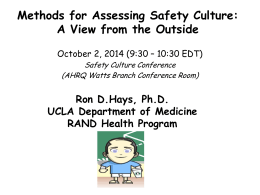 Methods for Assessing Safety Culture