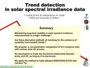 Trend detection in solar spectral irradiance data
