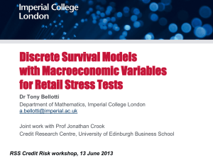 Stress testing based on discrete survival models with
