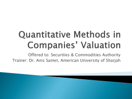 Quantitative Methods in Companies* Valuation