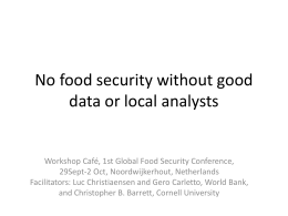 No food security without good data or local