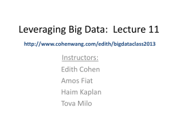 Leveraging Big Data: Lecture 11 - Cohen