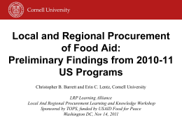 Local and Regional Procurement of Food Aid