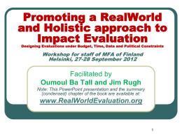 RWE PowerPoint - RealWorld Evaluation