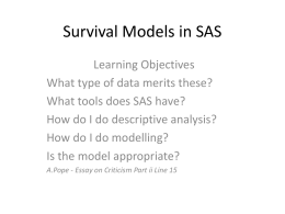 Survival Models, John Fahey, Reproductive Care Program