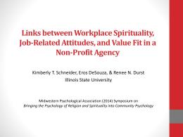 Links between Workplace Spirituality, Job