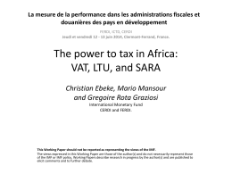 The power to tax in Africa: VAT, LTU, and SARA