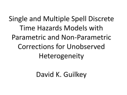 Single and Multiple Spell Discrete Time Hazards Models with