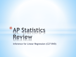 C27 Linear Regression Inference AP Statistics Review