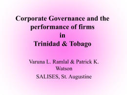 Corporate Governance and the Performance of