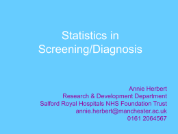 Diagnosis/Screening Tests (Powerpoint Presentation)