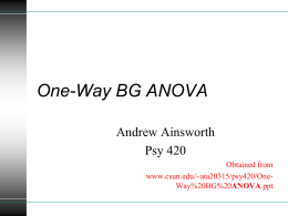 One-Way BG ANOVA