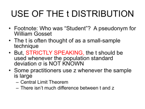 USE OF THE t DISTRIBUTION