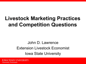 Livestock Marketing Practices and Competition Questions