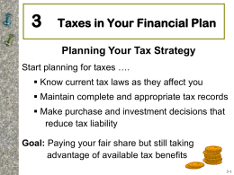 Chapter 3: Taxes in your Financial Plan