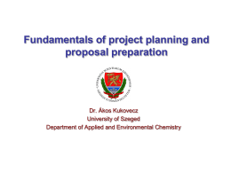 A.Kukovecz – Fundamentals of project planning and