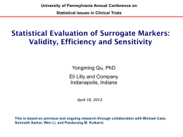 Statistical Evaluation of Surrogate Markers