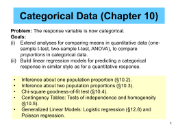 Lecture 9 Categorical Data