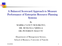 A Balanced Scorecard Approach to Measure ERP Performance