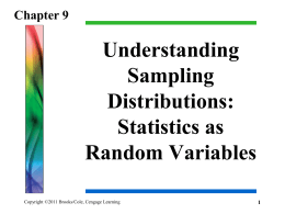 Lecture Notes Chapter 9 - Department of Statistics and Probability