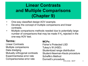 Linear Contrasts and Multiple Comparisons