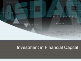 Investment in Financial Capital