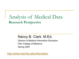 Analysis of Medical Data - Florida State University College of Medicine
