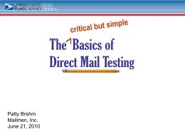 The Basics of Direct Mail Testing critical but simple