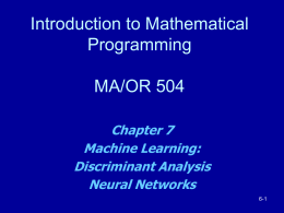 Chap. 7 Machine Learning: Discriminant Analysis Part 1